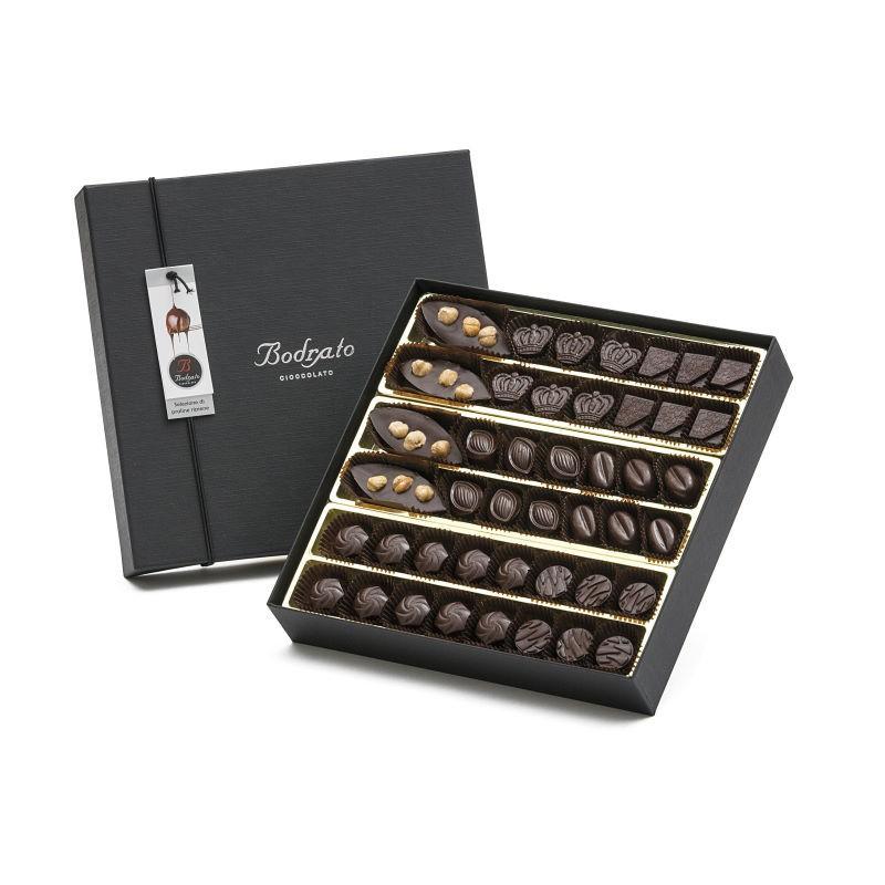 Scatola Degustazione 44 Cioccolatini Fondenti Assortiti