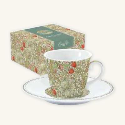 Tazza con Piattino in Porcellana William Morris Green Easy Life da 200 ml