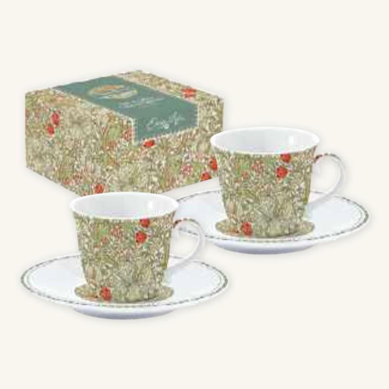 Set 2 Tazzine Caffè con Piattino in Porcellana William Morris Green Easy Life