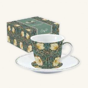 Tazza con Piattino in Porcellana William Morris Black Easy Life da 200 ml.